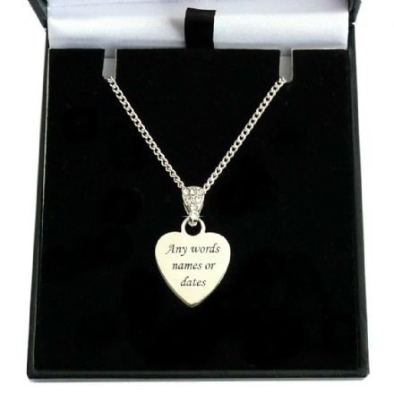 Engraved Heart Necklace with Crystal Bail